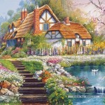 castorland-puzzel-3000-stuks-cottage-with-swans-andres-orpinas-300327